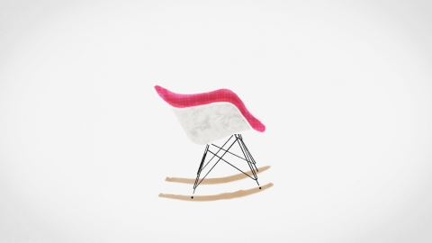 Profile view of an Eames Molded Plastic rocker. Select to play an animated video featuring the Eames Shell Chair.