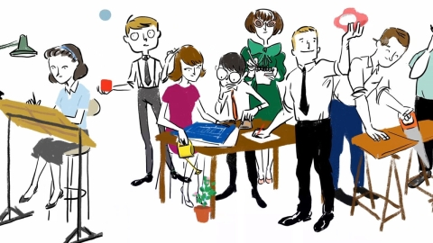 Animated depiction of eight people in a design studio. Select to play a video featuring George Nelson's employee, Hilda Longinotti.