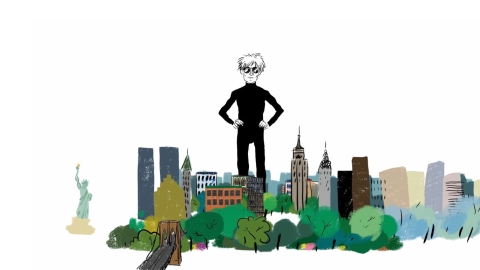 Animated depiction of Andy Warhol standing over the New York cityscape. Select to play a video about Warhol's work for George Nelson.