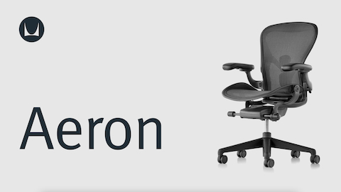 A black Aeron Chair, viewed from an angle.
