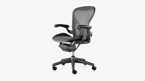 A black Classic Aeron ergonomic desk chair, viewed from an angle.
