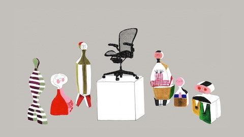 Illustration of dolls designed by Alexander Girard surrounding an Aeron ergonomic desk chair that is standing on a museum pedestal.