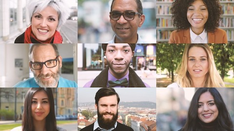 A grid of people of different nationalities, ages, and backgrounds. Select to learn more about diversity at Herman Miller.