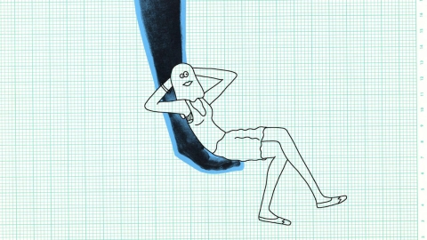 An animated figure reclines with hands behind head. Select to play a video about designer Bill Stumpf's criteria for chair comfort.