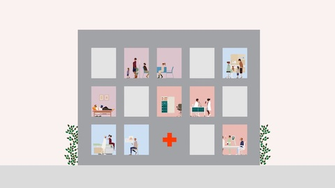 An animated rendition of a hospital. Select to play an animated video touching on healthcare design.