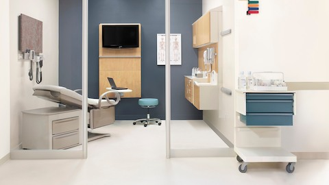 The modular Compass System in an exam room. Select to view a video featuring product designer Gianfranco Zaccai.