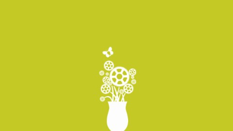 Illustration of gear-shaped flowers in a white vase against a green background. Select to play a video about Layout Studio.
