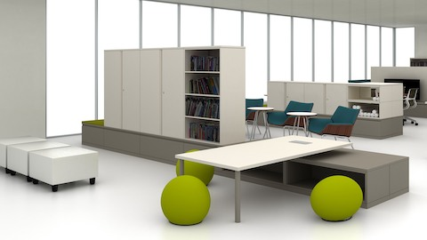 Meridian storage units divide space in an open work area. Select to play a video about Meridian filing and storage.