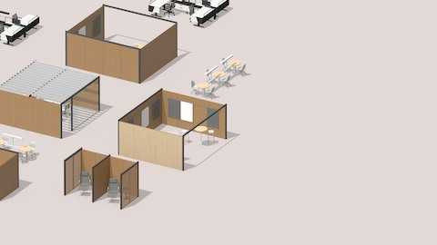 A floorplan that includes four Overlay spaces, two sets of workstations, and two café seating spaces.