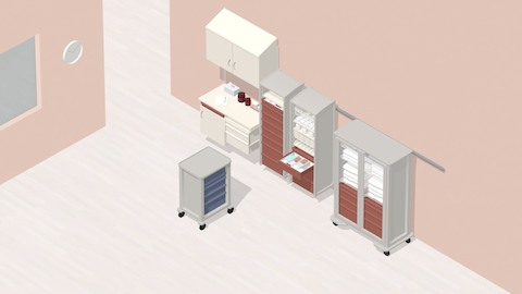An illustrated image of a supply cart in a clean supply room. Select to play animated video showing how supply carts can help caregivers be more efficient and effective.