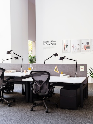 Adjacent benching workpoints with height-adjustable desks and black Aeron office chairs.