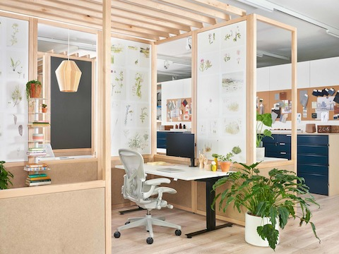 Home office setting in Herman Miller retail space.