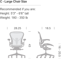 aeron chairs product configurator - Aeron Chair Sizes
